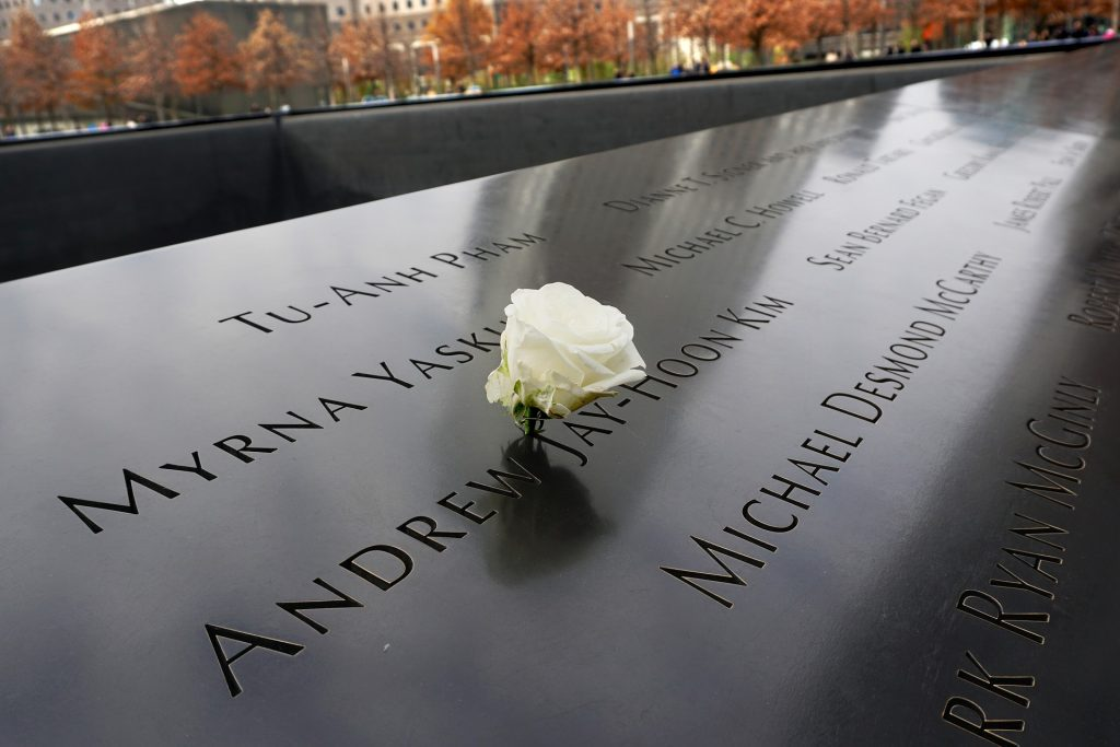 White Rose on 9/11 Memorial parapet