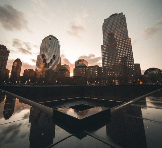 9/11 Memorial pool, an inspirational sight at sunset
