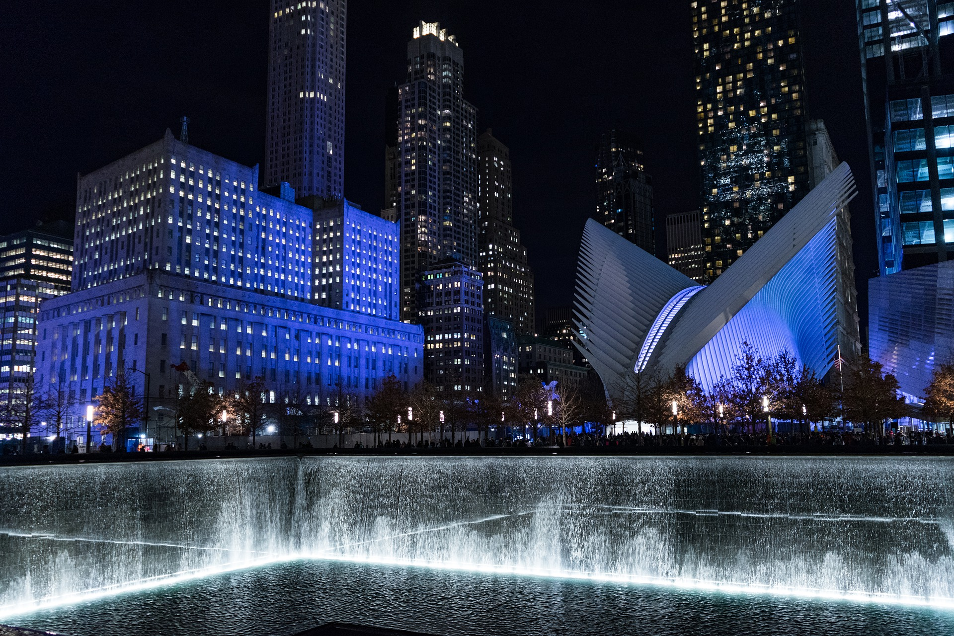 9/11 Memorial at night